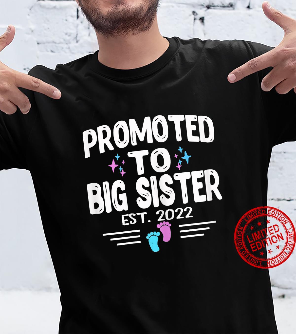 Promoted To Big Sister Est 2022 Gender Reveal Pink Or Blue Shirt