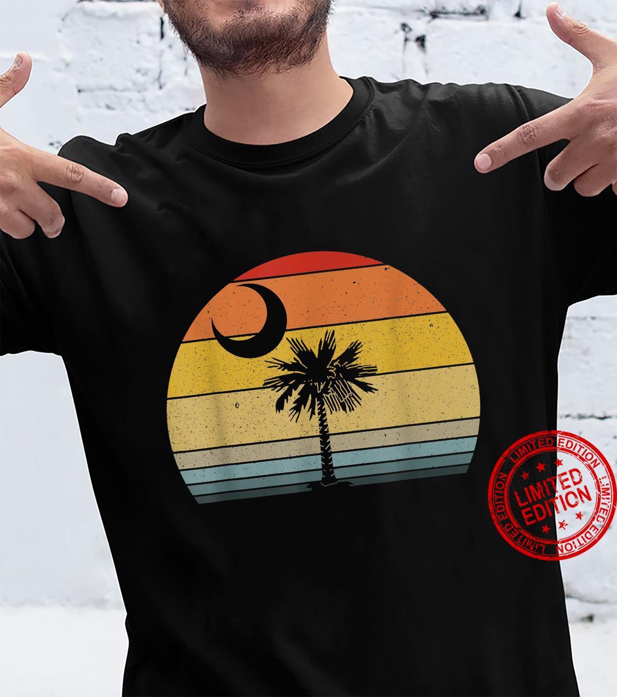 Retro Sunset South Carolina Flag Palmetto Tree Crescent Moon Shirt