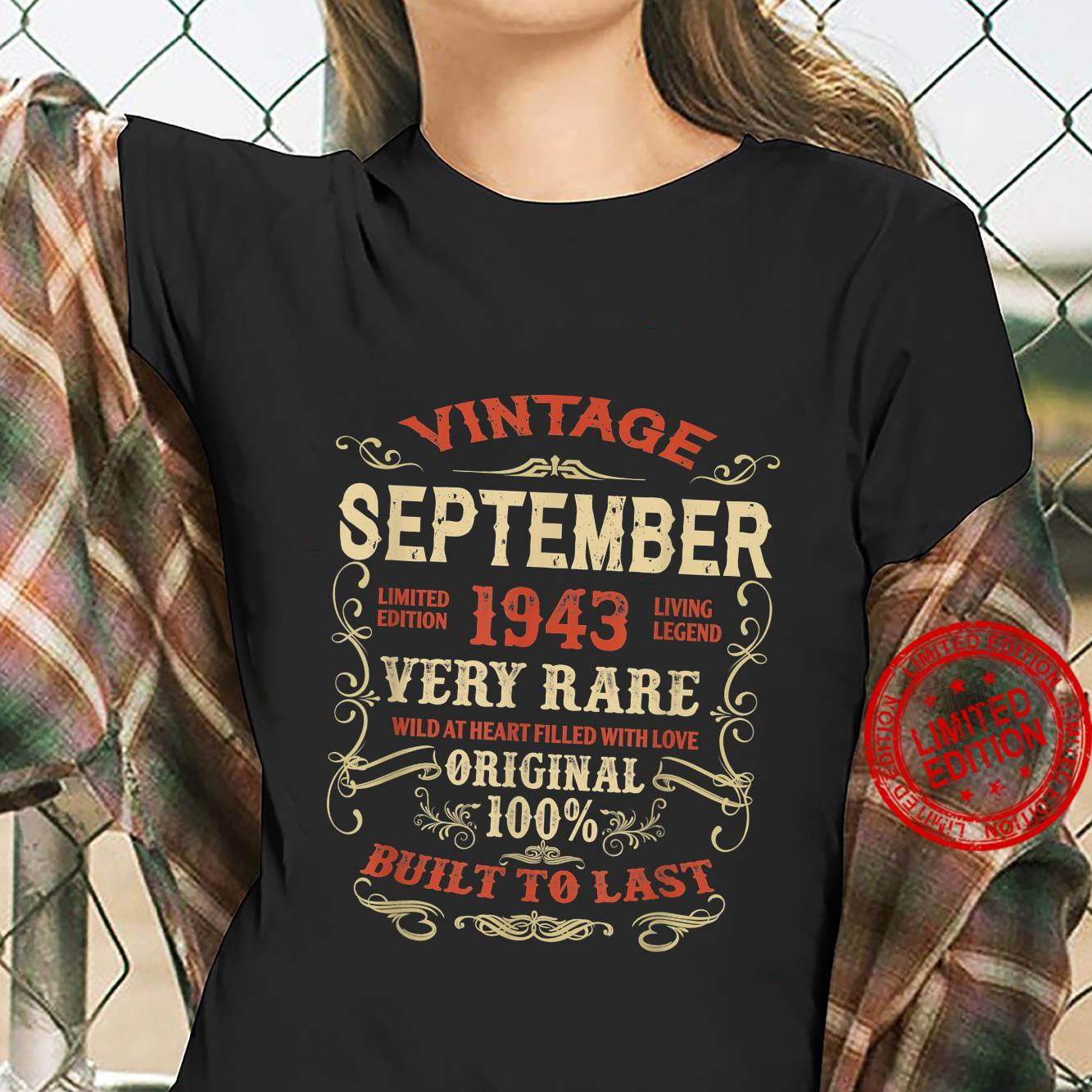 September 1943 78Th Birthday 78 Years Of Being Awesome Shirt ladies tee
