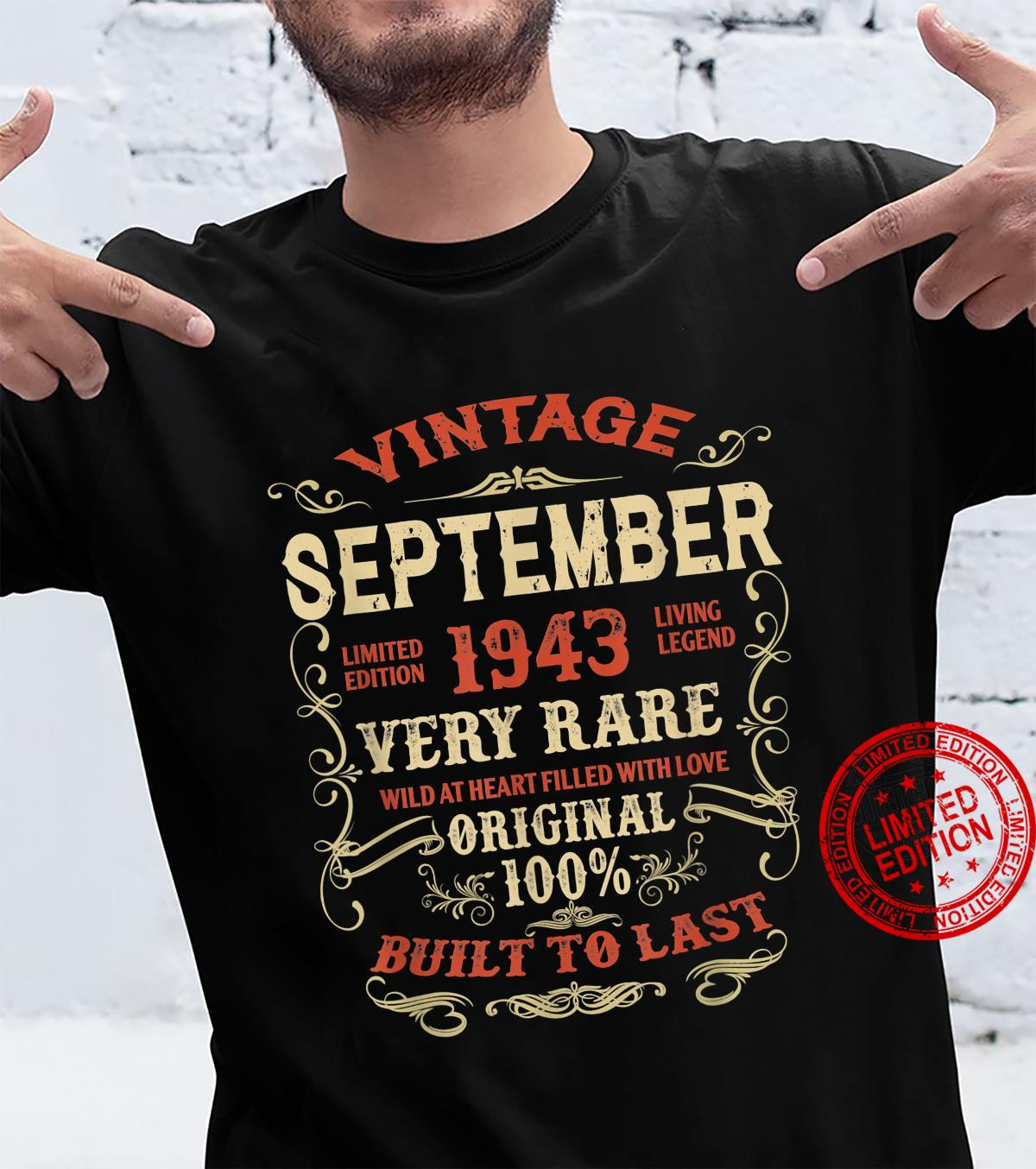 September 1943 78Th Birthday 78 Years Of Being Awesome Shirt