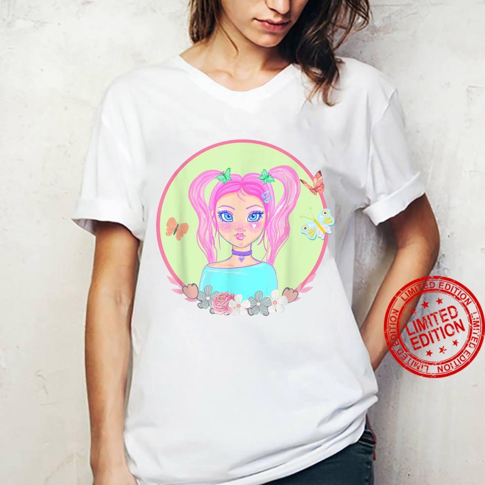 Soft Girl, Soft Girl Aesthetics, Butterflies, Pink Hair Shirt ladies tee