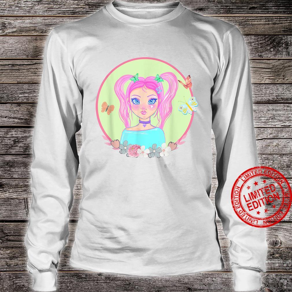 Soft Girl, Soft Girl Aesthetics, Butterflies, Pink Hair Shirt long sleeved