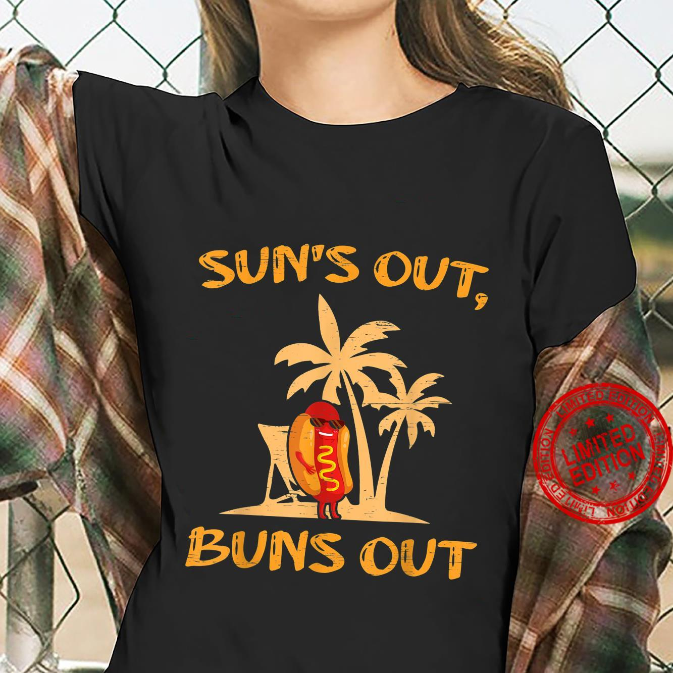 Suns Out Hot Dog Buns Grilling Sausage BBQ Barbecue Grill Shirt ladies tee