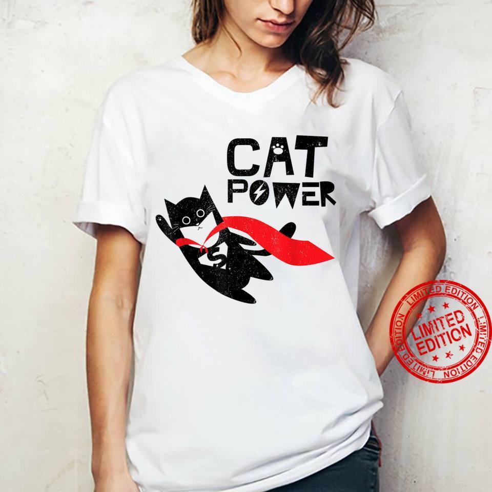 Super Hero Cat Power For Kid Shirt ladies tee