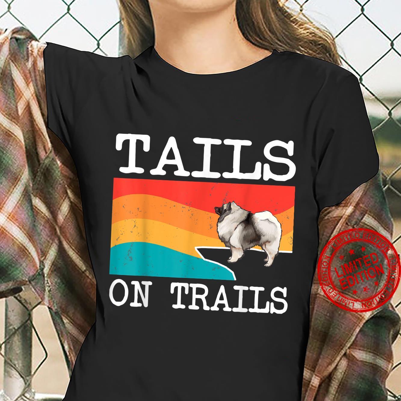 Tails On Trails Keeshond Dog Hiking Shirt ladies tee