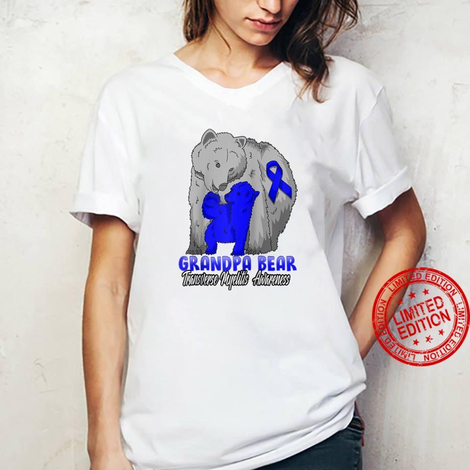 Transverse Myelitis Child Awareness Grandpa Bear Support Rib Shirt ladies tee