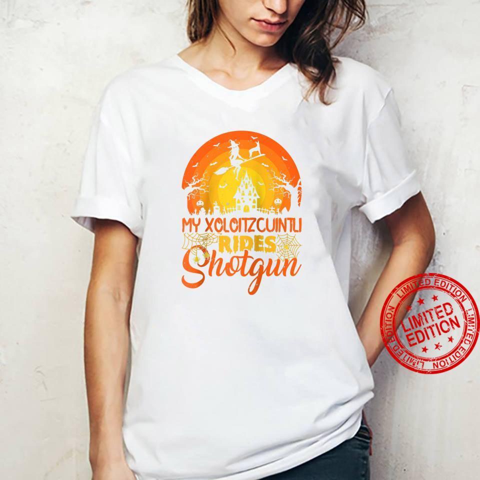 Vintage Witch My Xoloitzcuintli Rides Shotgun Halloween Shirt ladies tee