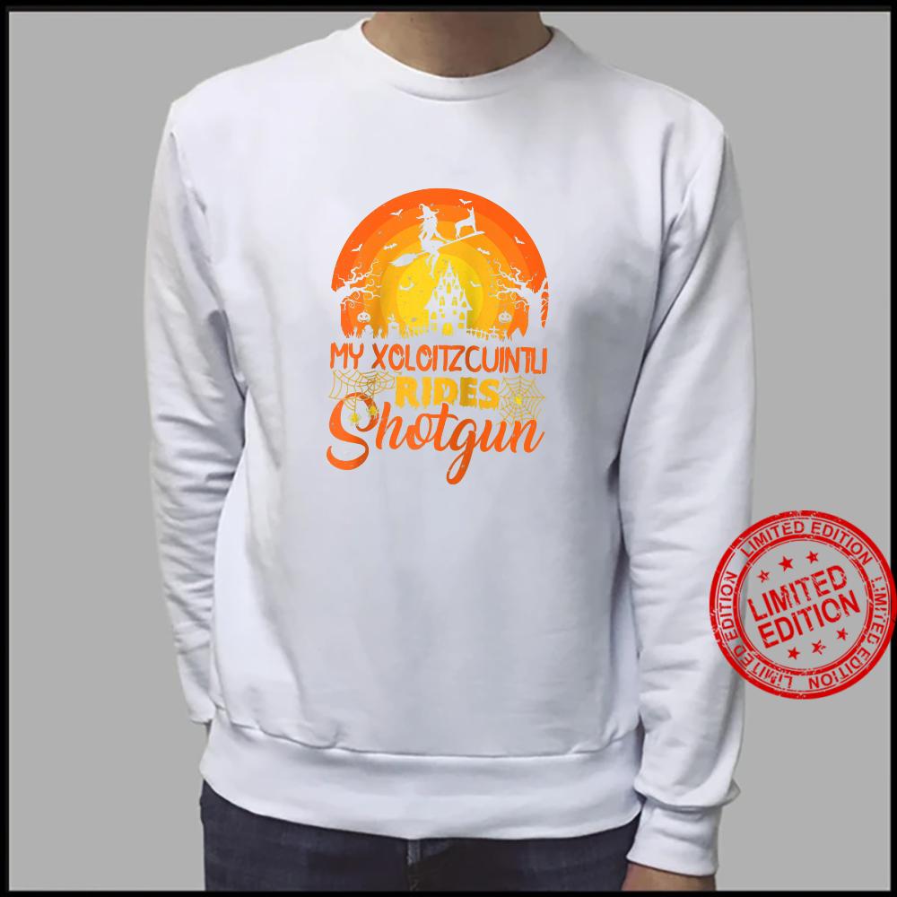 Vintage Witch My Xoloitzcuintli Rides Shotgun Halloween Shirt sweater
