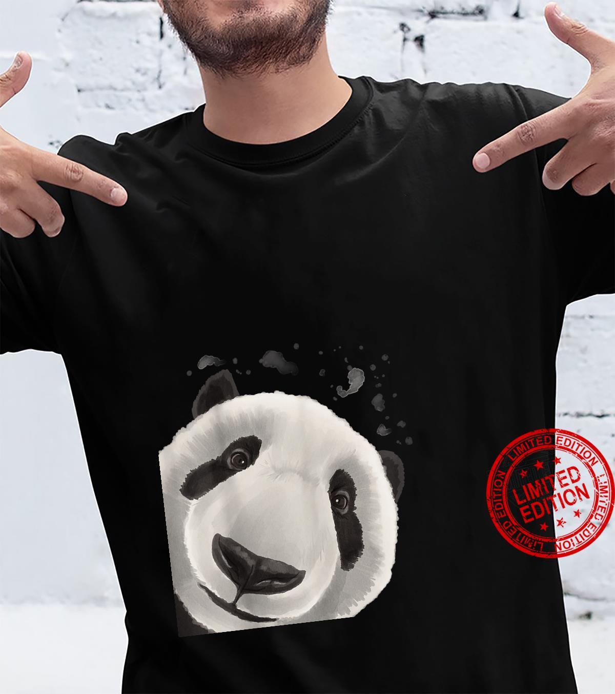 Witziges Pandabär Neugieriger Panda Bär Shirt