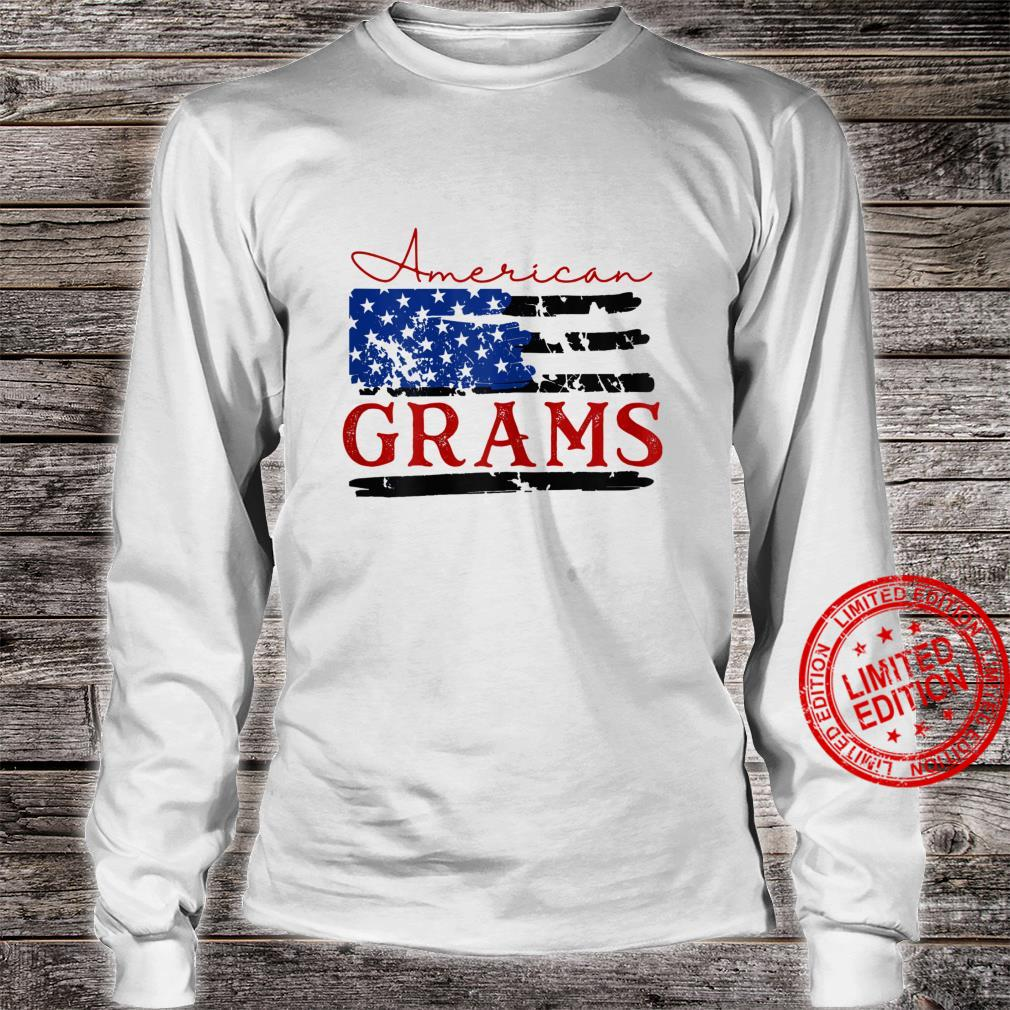 Womens American Grams Flag, Cute 4th of July USA Shirt long sleeved