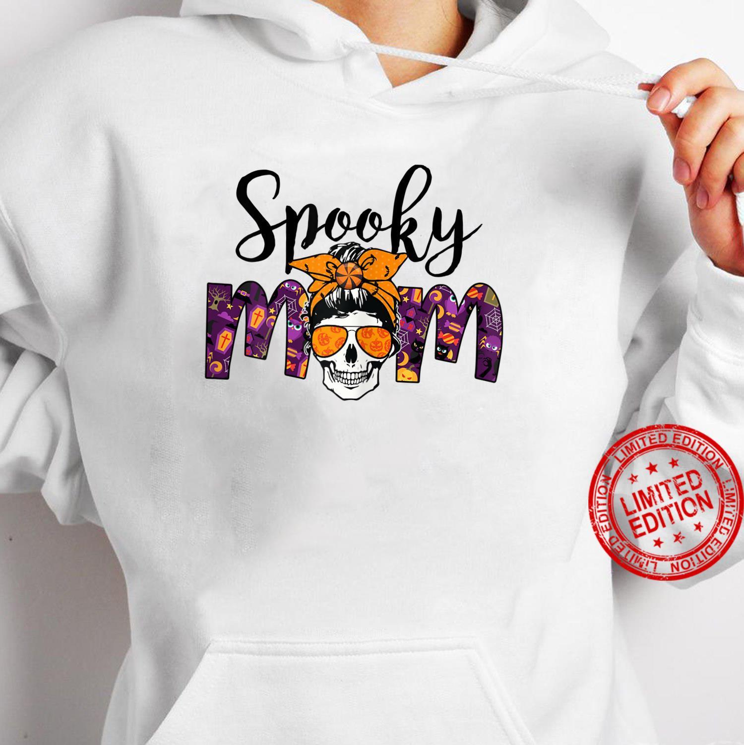 Womens BRB3 Messy Bun Spooky Mom Happy Autumn Halloween Spooky Shirt hoodie