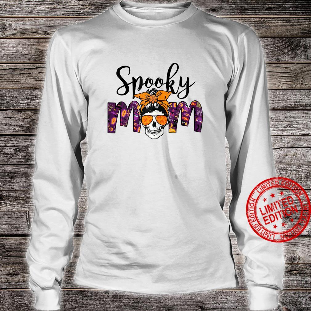 Womens BRB3 Messy Bun Spooky Mom Happy Autumn Halloween Spooky Shirt long sleeved
