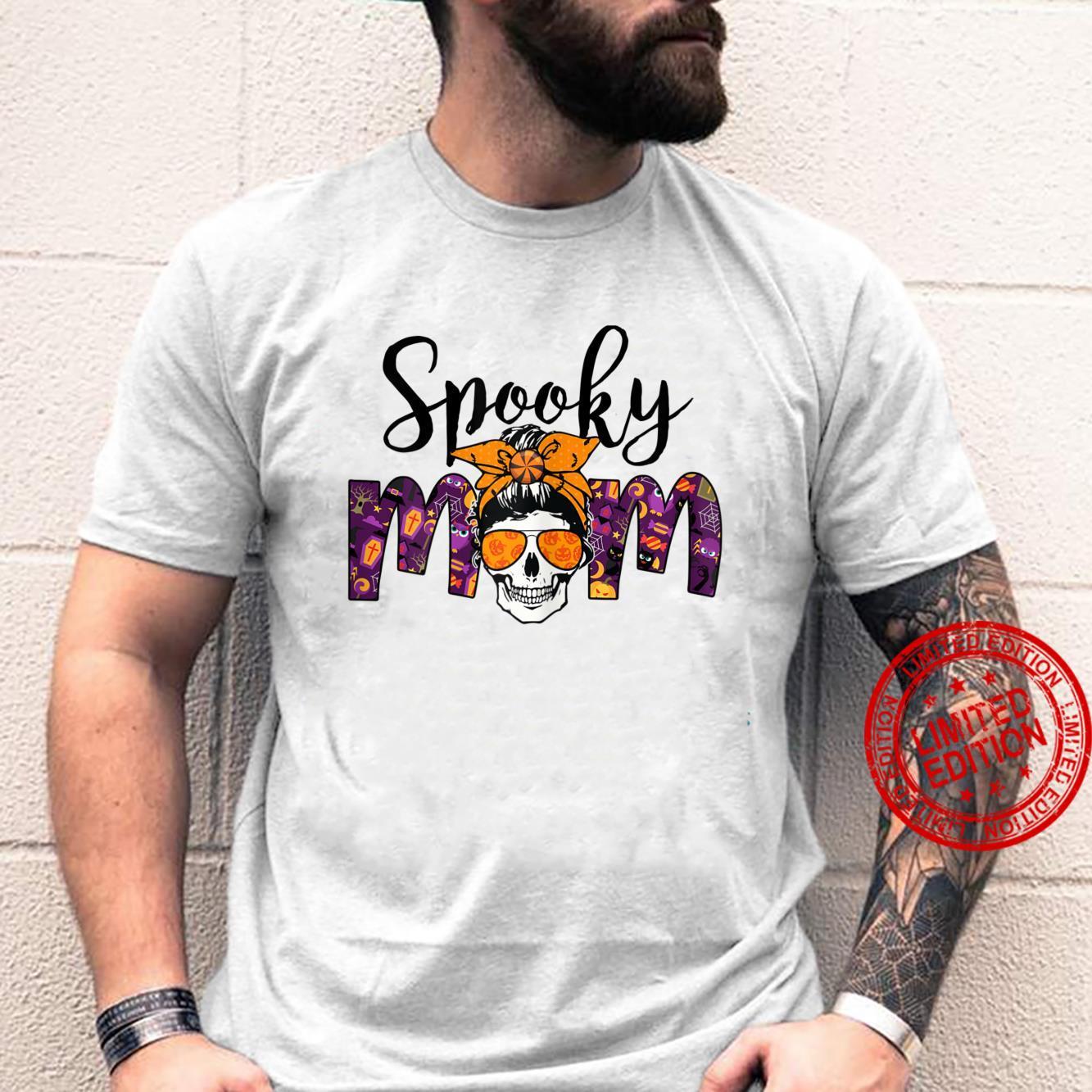 Womens BRB3 Messy Bun Spooky Mom Happy Autumn Halloween Spooky Shirt