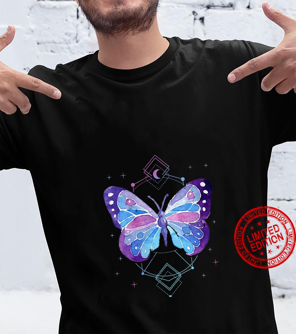 Womens Butterfly Occult Pagan Kawaii Anime Japanese Pastel Goth Shirt