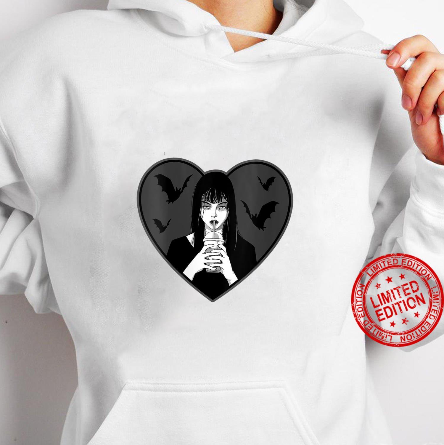 Womens Dead Inside Goth Girl Drinking Boba Bats Shirt hoodie