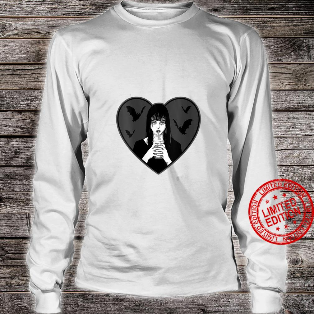 Womens Dead Inside Goth Girl Drinking Boba Bats Shirt long sleeved