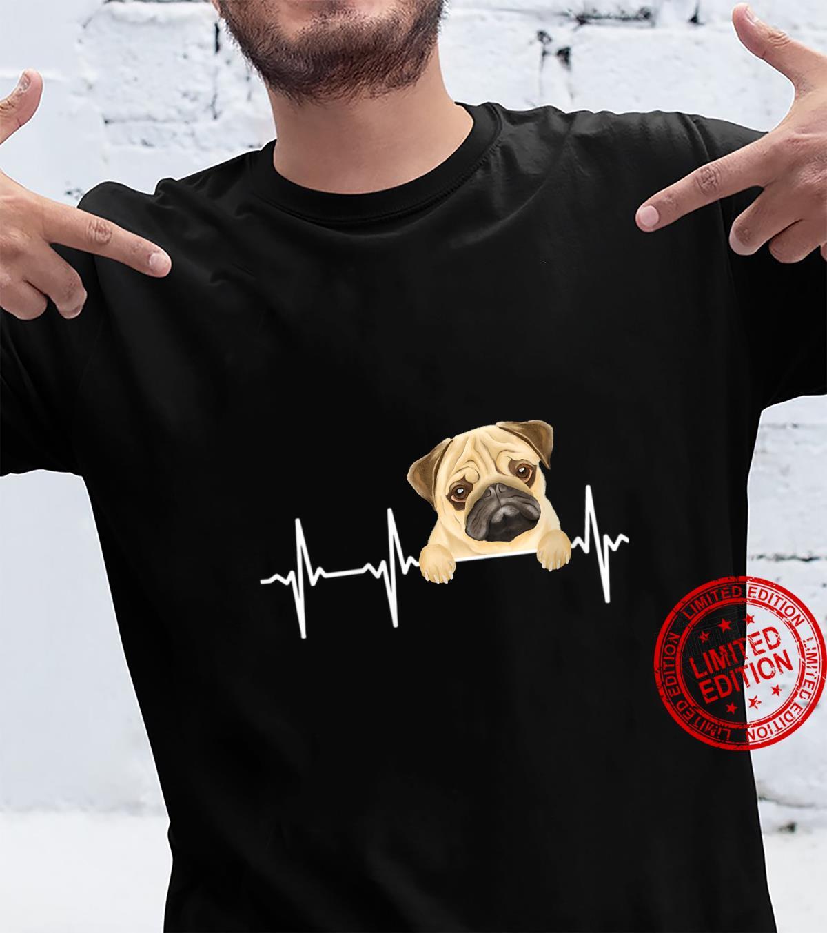 Womens Dog Heartbeat For Pugs Shirt
