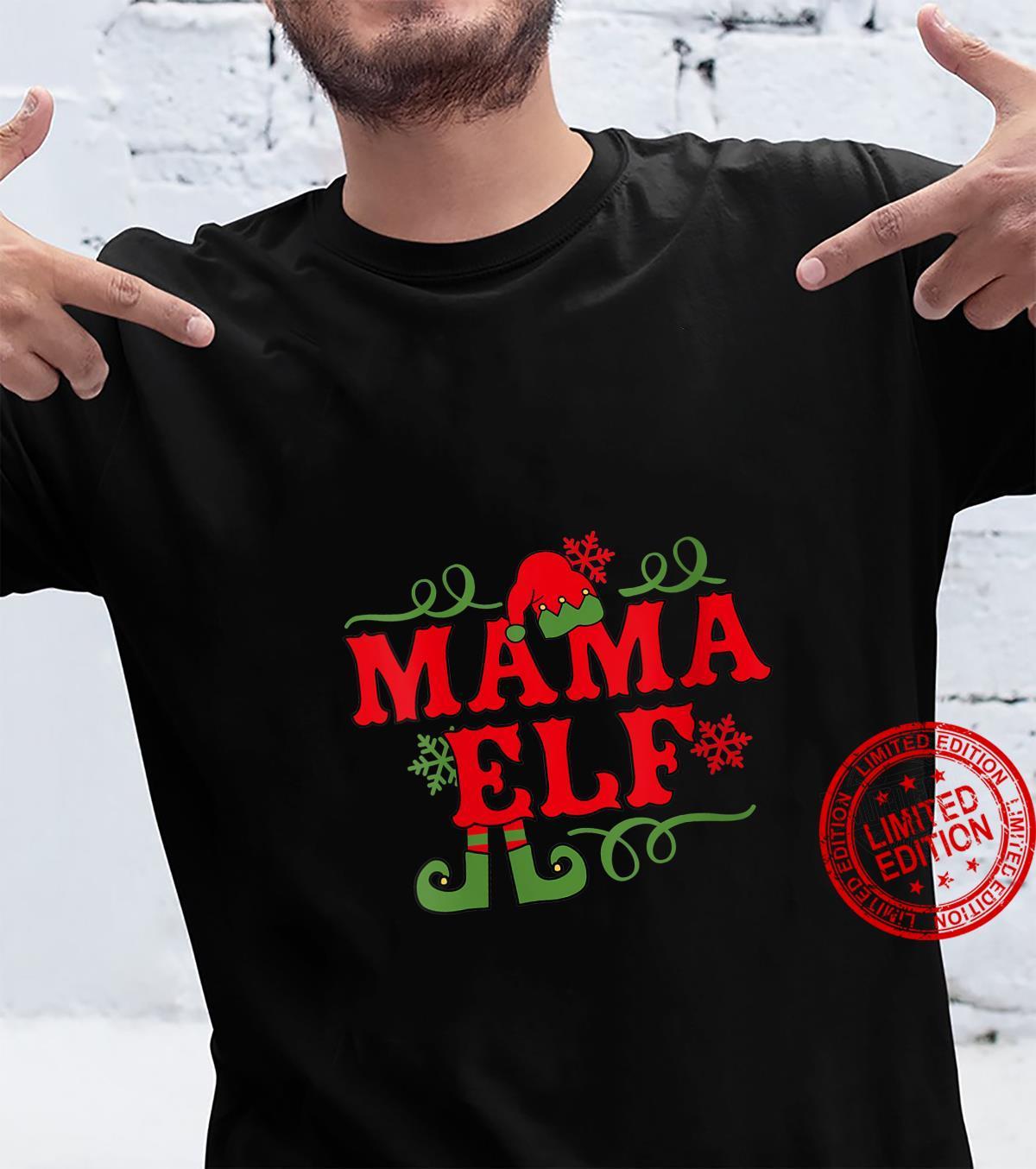 Womens Mama Elf Family Christmas Design Shirt