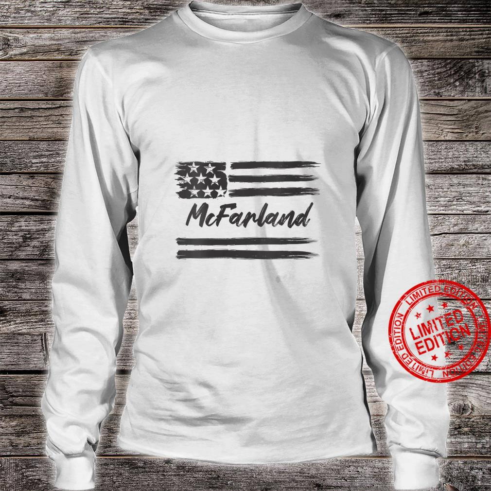 Womens McFarland Personalized Name, Stars and Stripes, USA Flag Shirt long sleeved