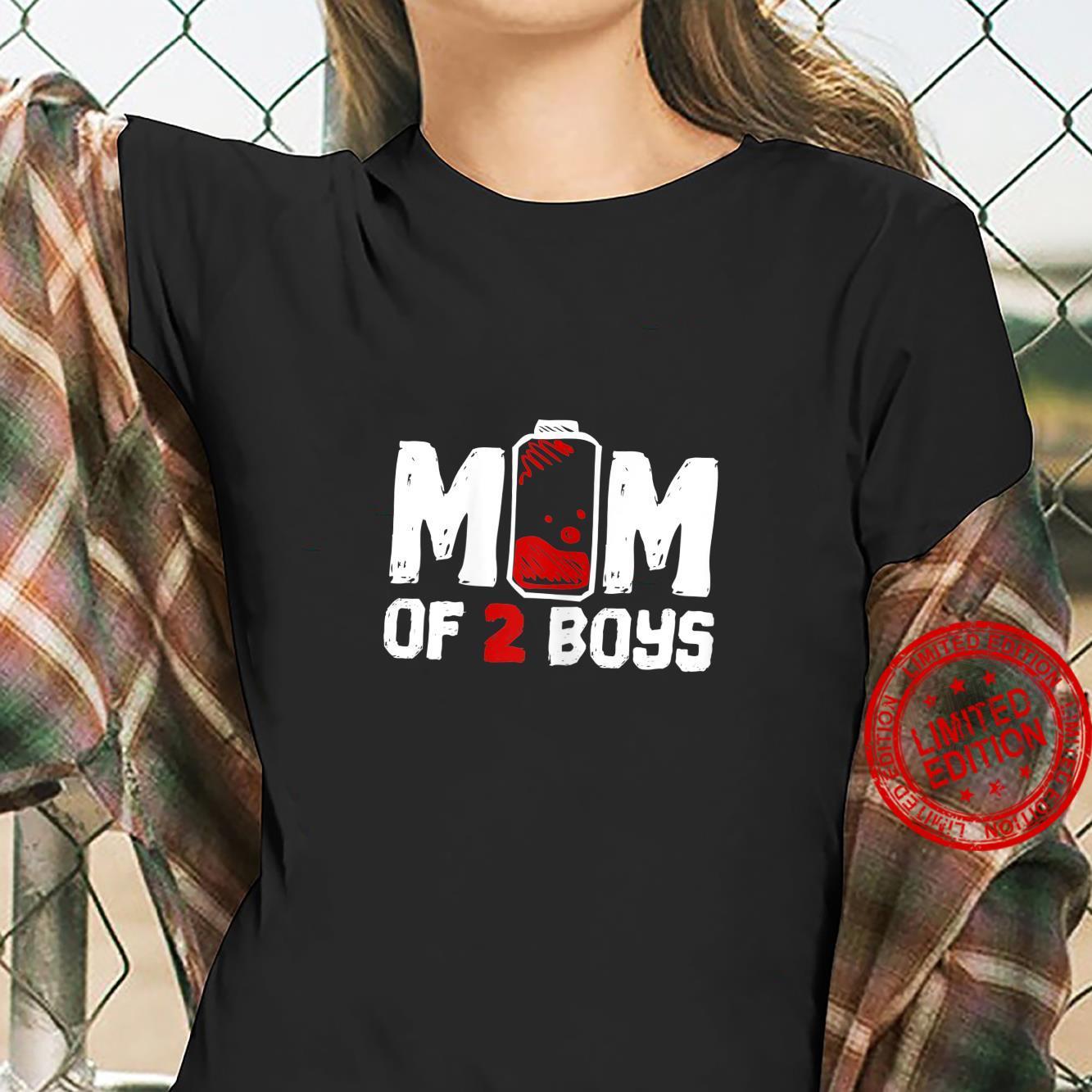 Womens Mom of 2 Boys Shirt ladies tee