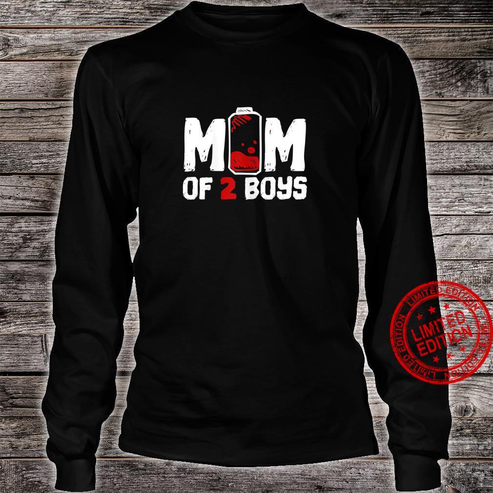 Womens Mom of 2 Boys Shirt long sleeved