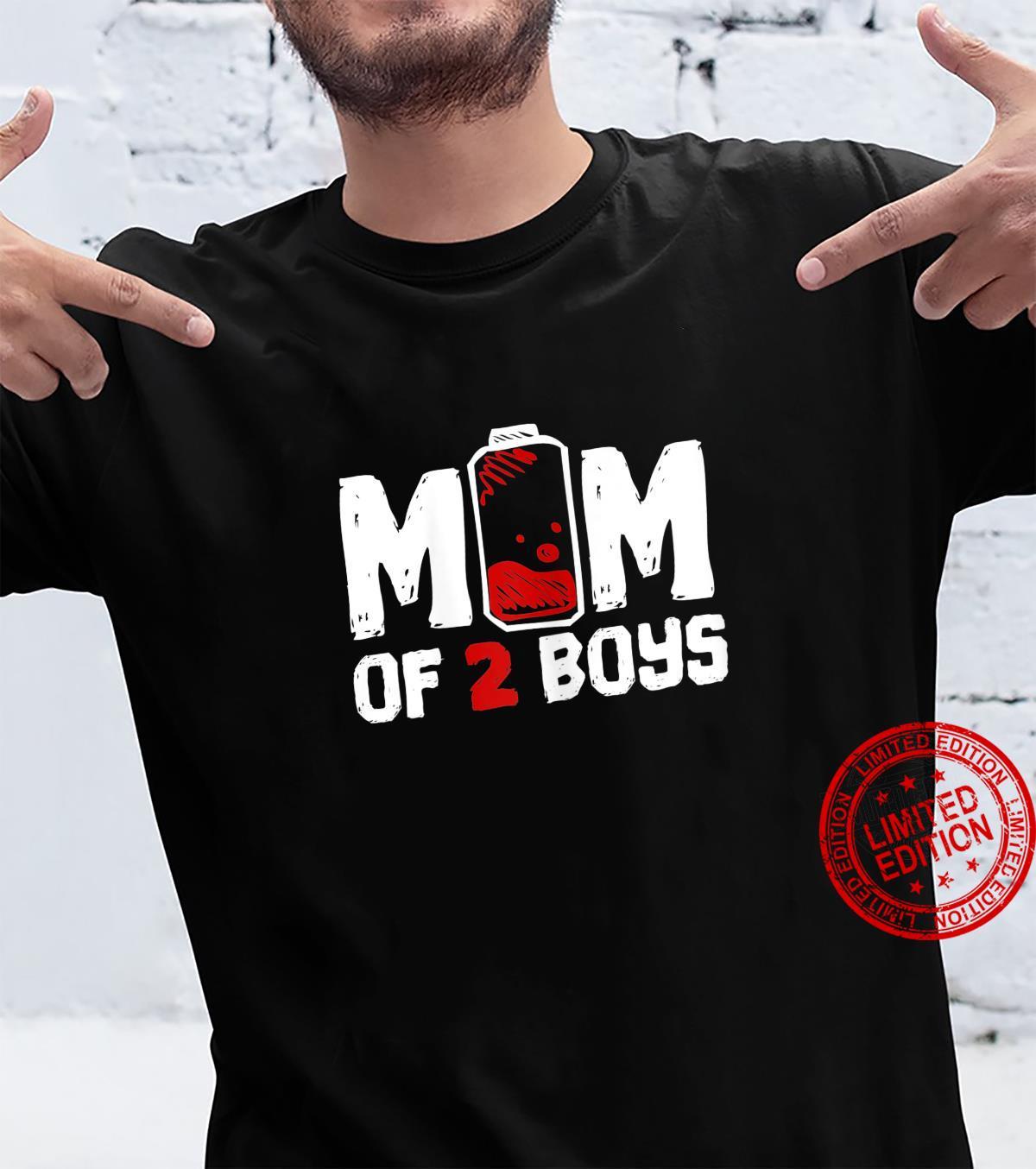 Womens Mom of 2 Boys Shirt