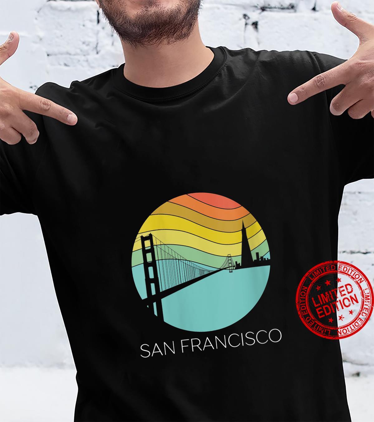 Womens Retro San Francisco California Surf Vintage Beach Golden Cal Shirt