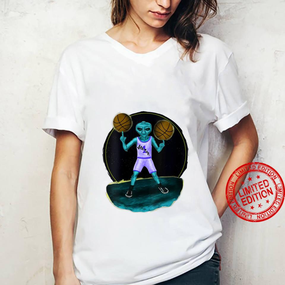 Womens Space Alien UFO Creature Basketball Player Shirt ladies tee