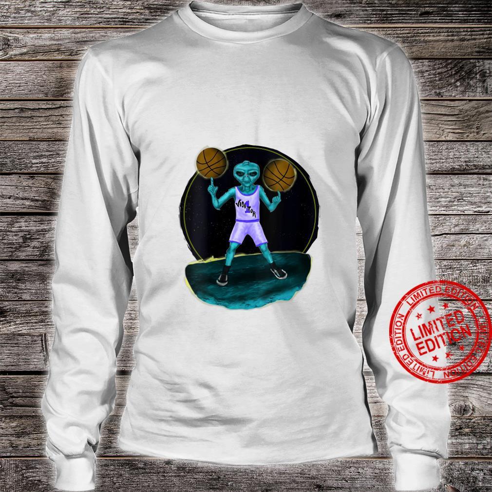 Womens Space Alien UFO Creature Basketball Player Shirt long sleeved
