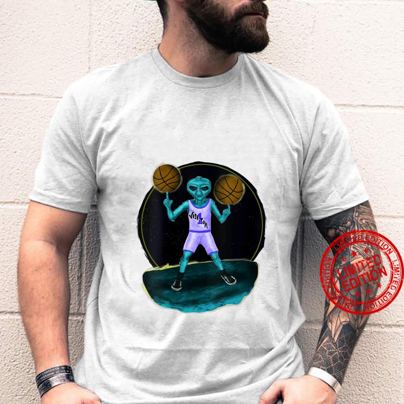 Womens Space Alien UFO Creature Basketball Player Shirt
