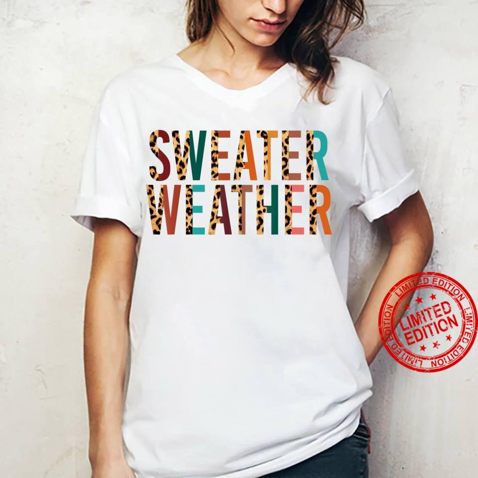 Xgwk Leopard Weather Fall Autumn Vibes Thanksgiving Shirt ladies tee