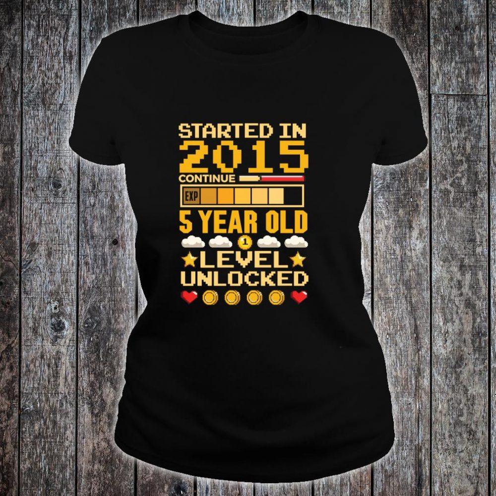 5th Birthday Gamer Started In 2015 Level Unlocked Boys Shirt ladies tee