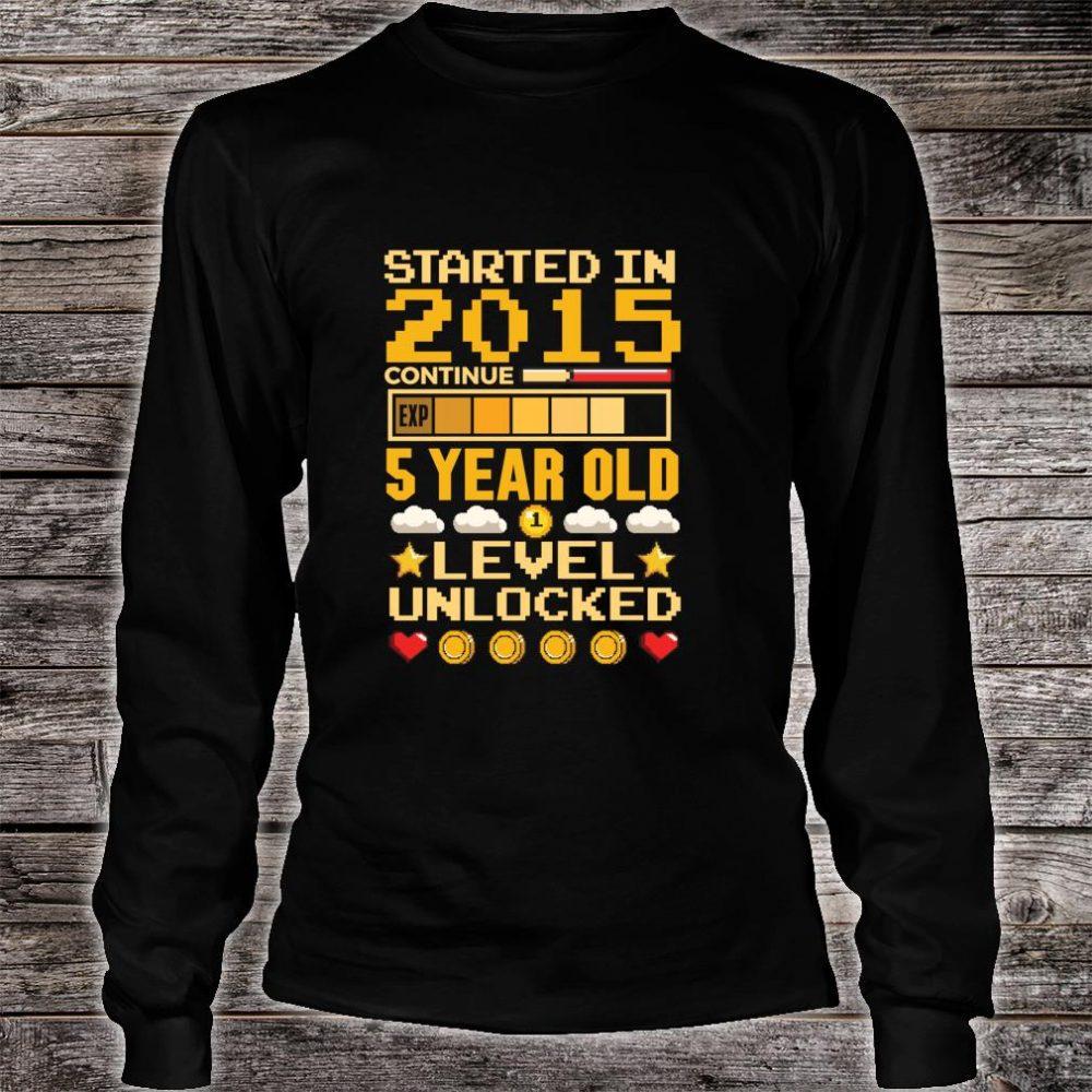 5th Birthday Gamer Started In 2015 Level Unlocked Boys Shirt long sleeved