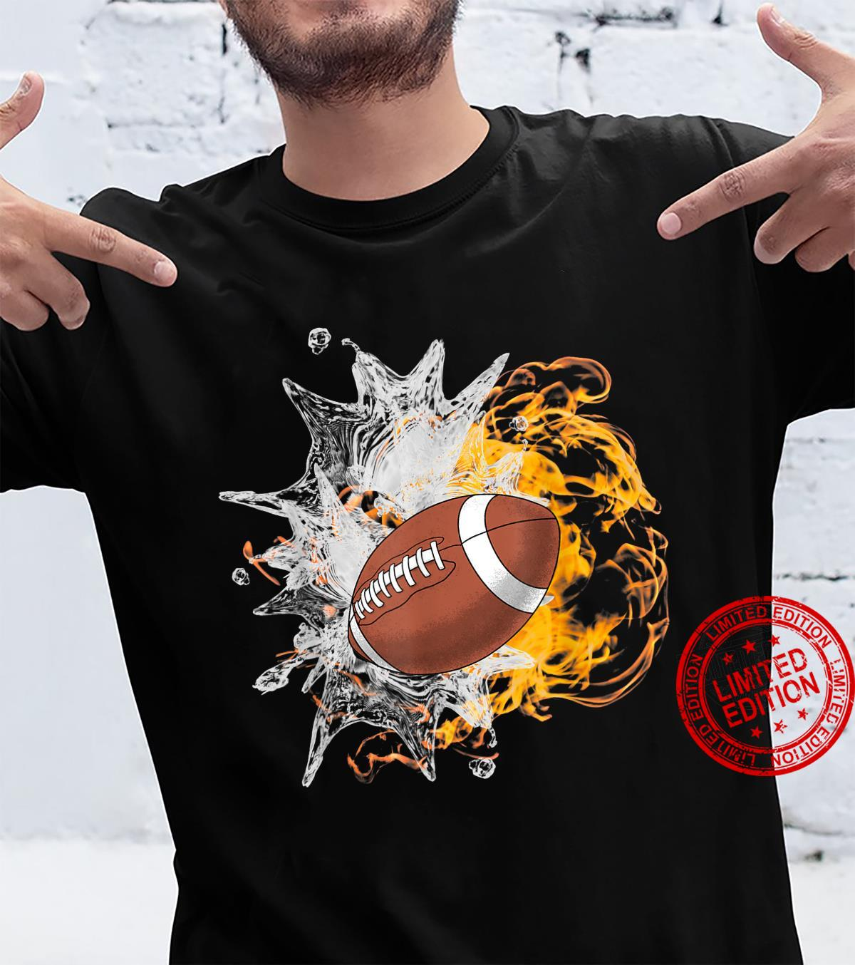 American Football Ice Flaming Fire Cool Sports Shirt