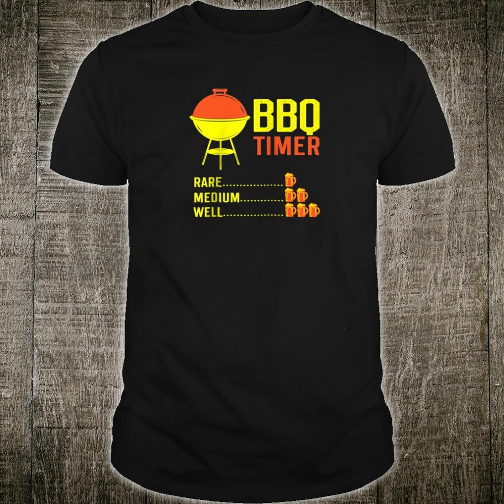 BBQ Timer Barbecue Beer Chart Grill Cooking Time Shirt