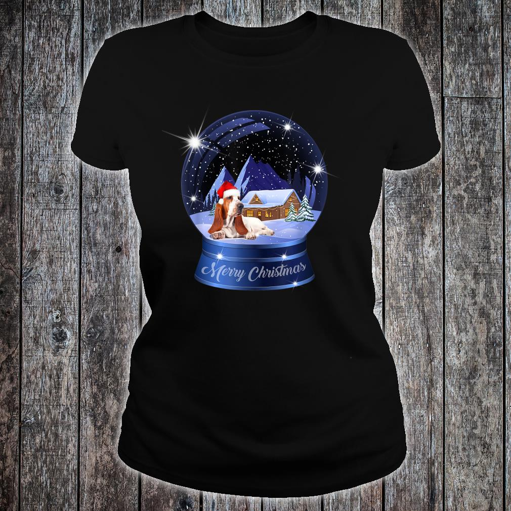 Basset Hound Dog Art Inside Crystal Merry Christmas Outfit Shirt ladies tee