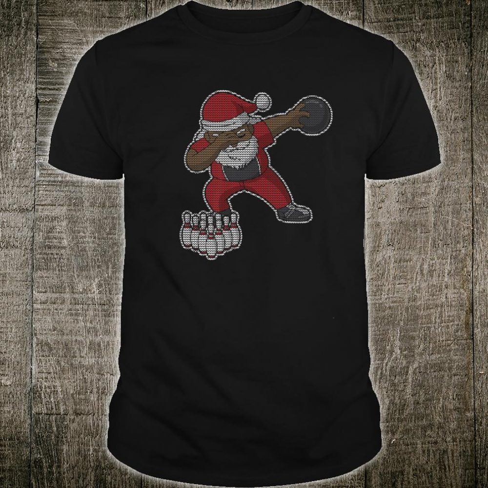 Bowling African American Santa Claus Bowler Christmas Shirt