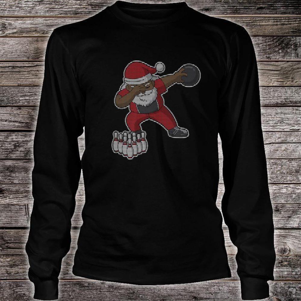 Bowling African American Santa Claus Bowler Christmas Shirt long sleeved