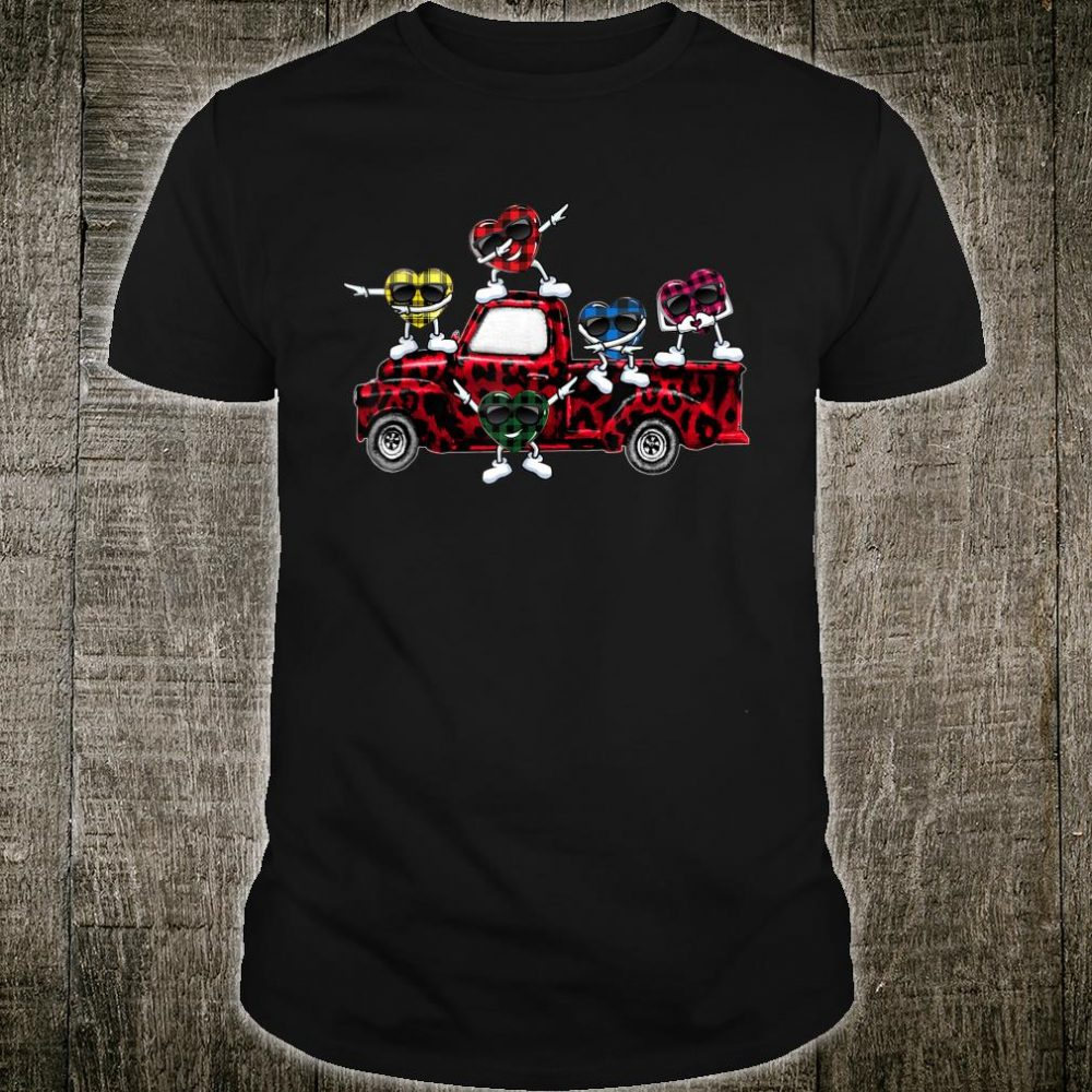 Buffalo Plaid Hearts Riding Red Leopard Truck Valentine Day Shirt