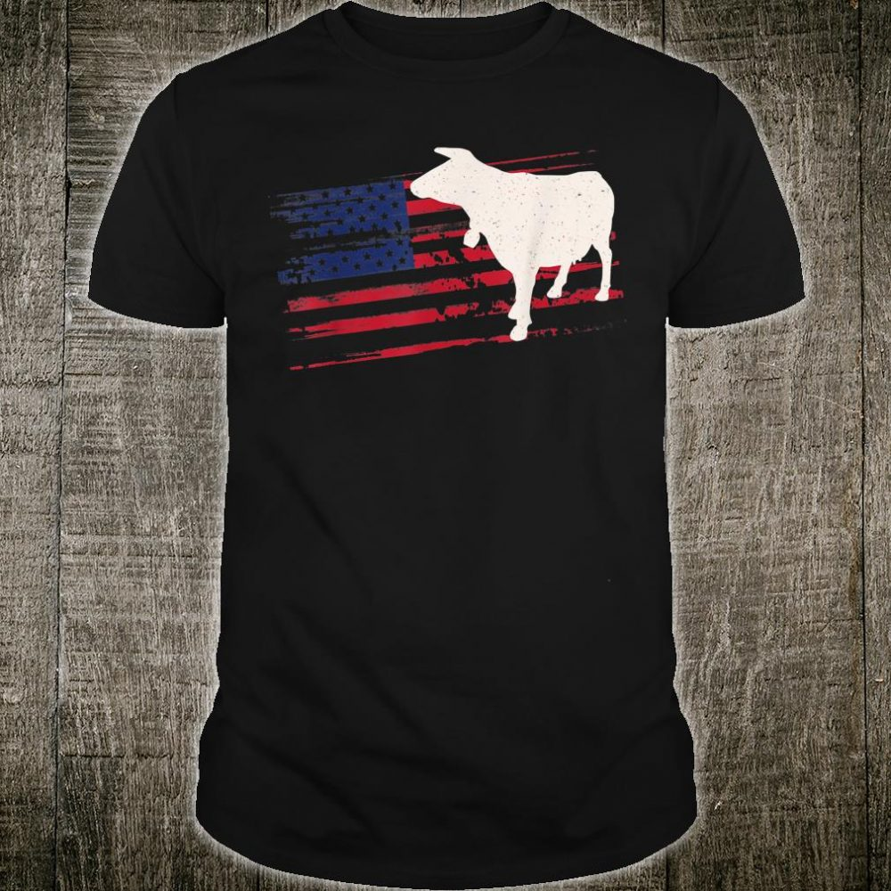 Cattle US American Flag Cow 4th Of July Farmer Bull USA Shirt