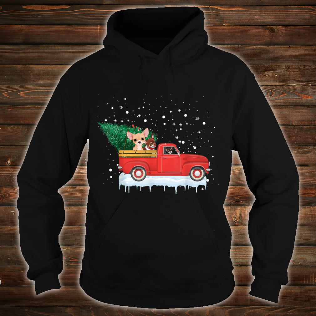 Chihuahua Rides Red Truck Christmas Tree Xmas Shirt hoodie