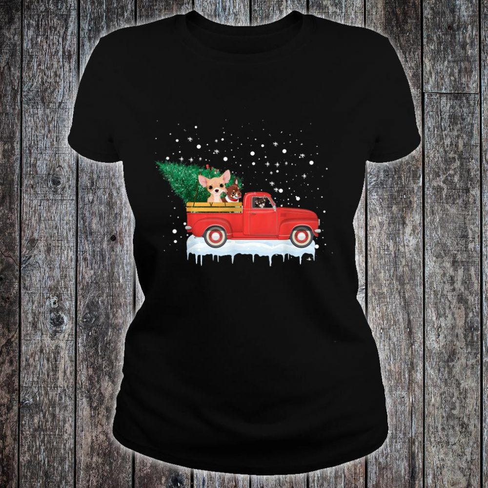 Chihuahua Rides Red Truck Christmas Tree Xmas Shirt ladies tee