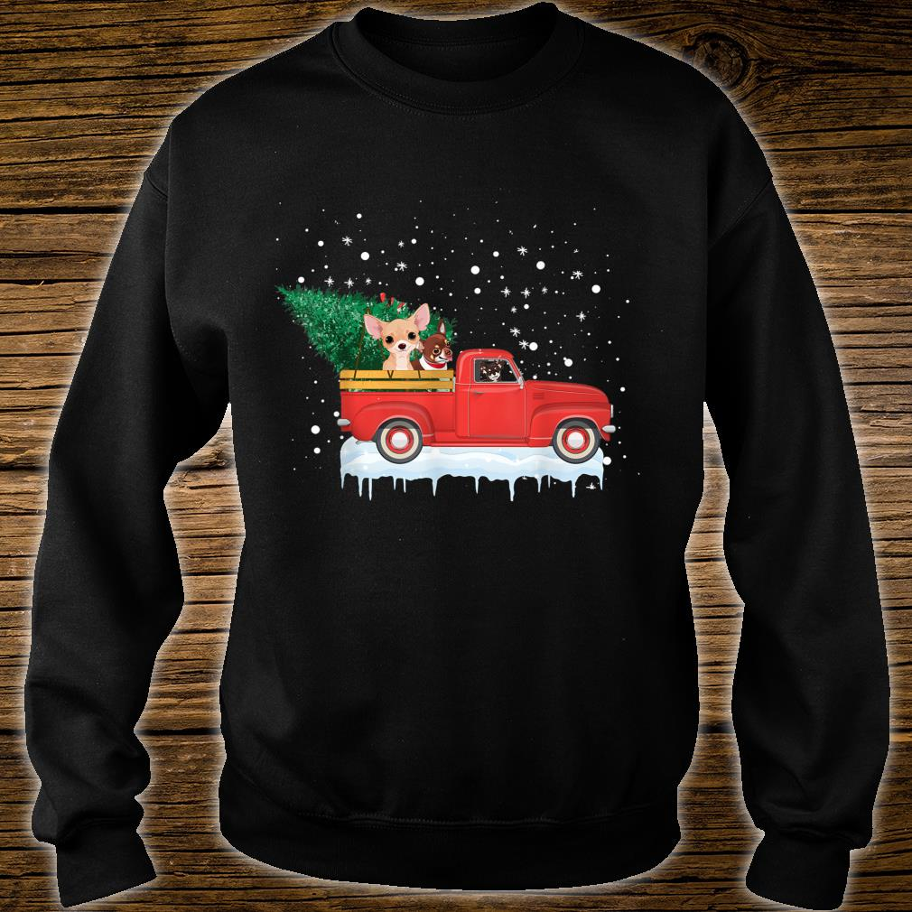 Chihuahua Rides Red Truck Christmas Tree Xmas Shirt sweater