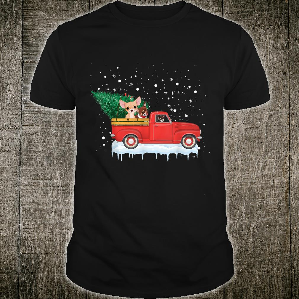 Chihuahua Rides Red Truck Christmas Tree Xmas Shirt