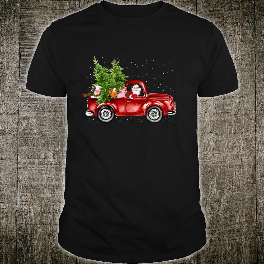 Christmas Santa Ride Red Truck Cow, Chicken, Pig Farm Xmas Shirt