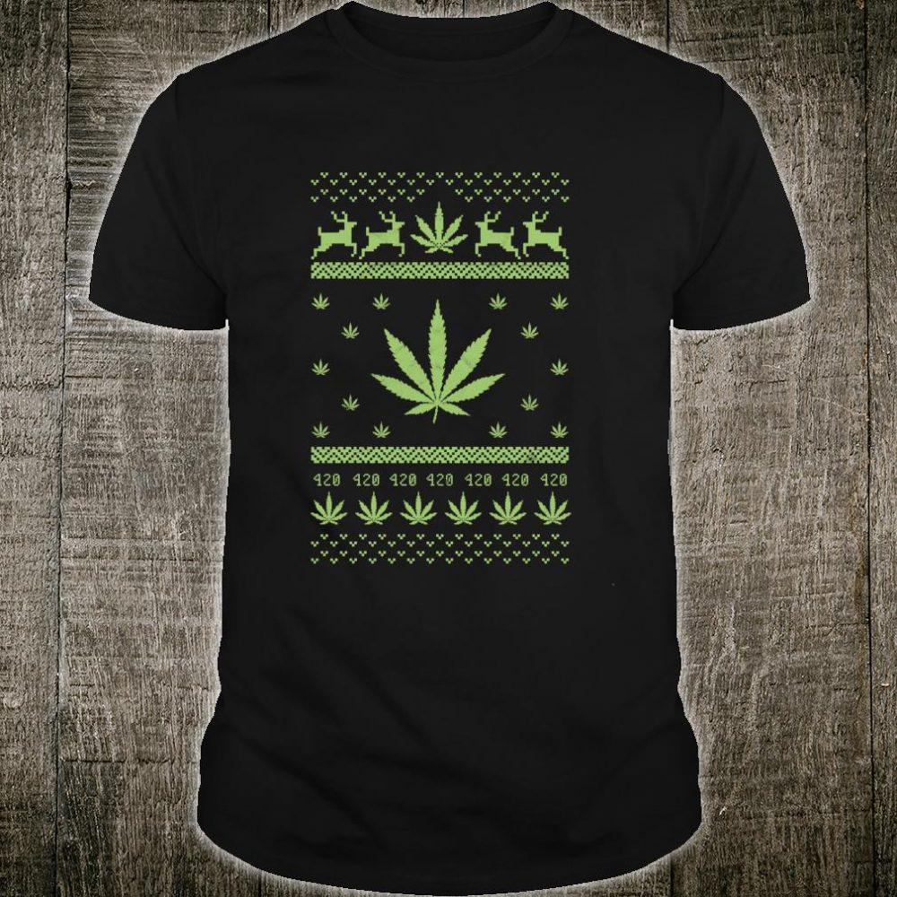 Christmas Weed Cannabis Xmas Marijuana Costume 420 THC Shirt