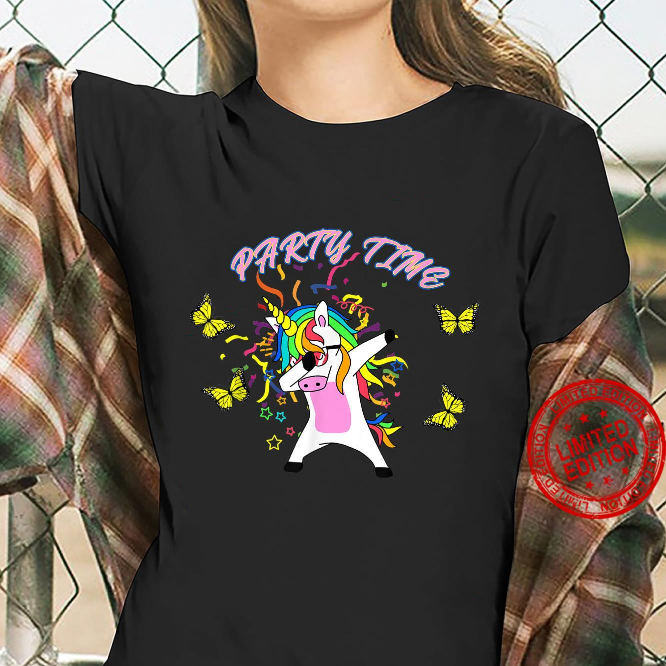Dabbing Unicorn Butterfly Party Time Shirt ladies tee