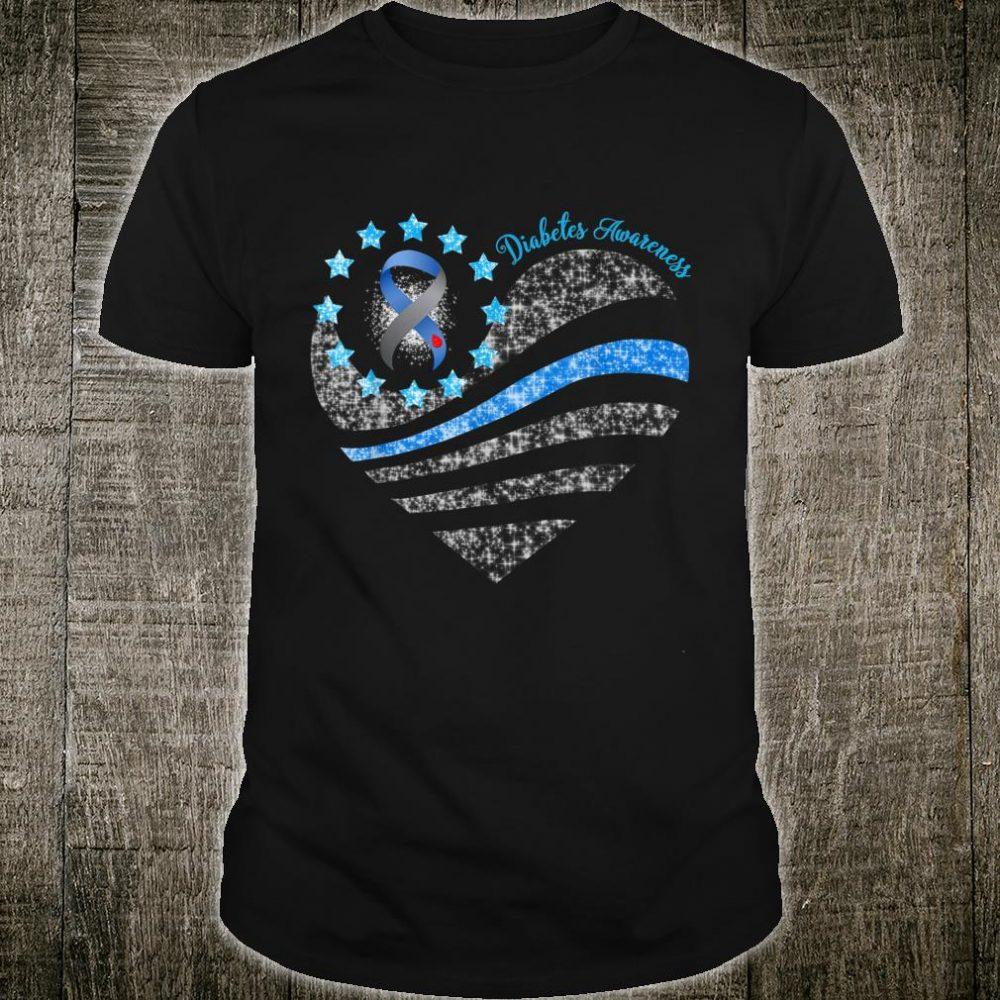Diabetes Awareness Month Blue Ribbon American Flag Heart Shirt