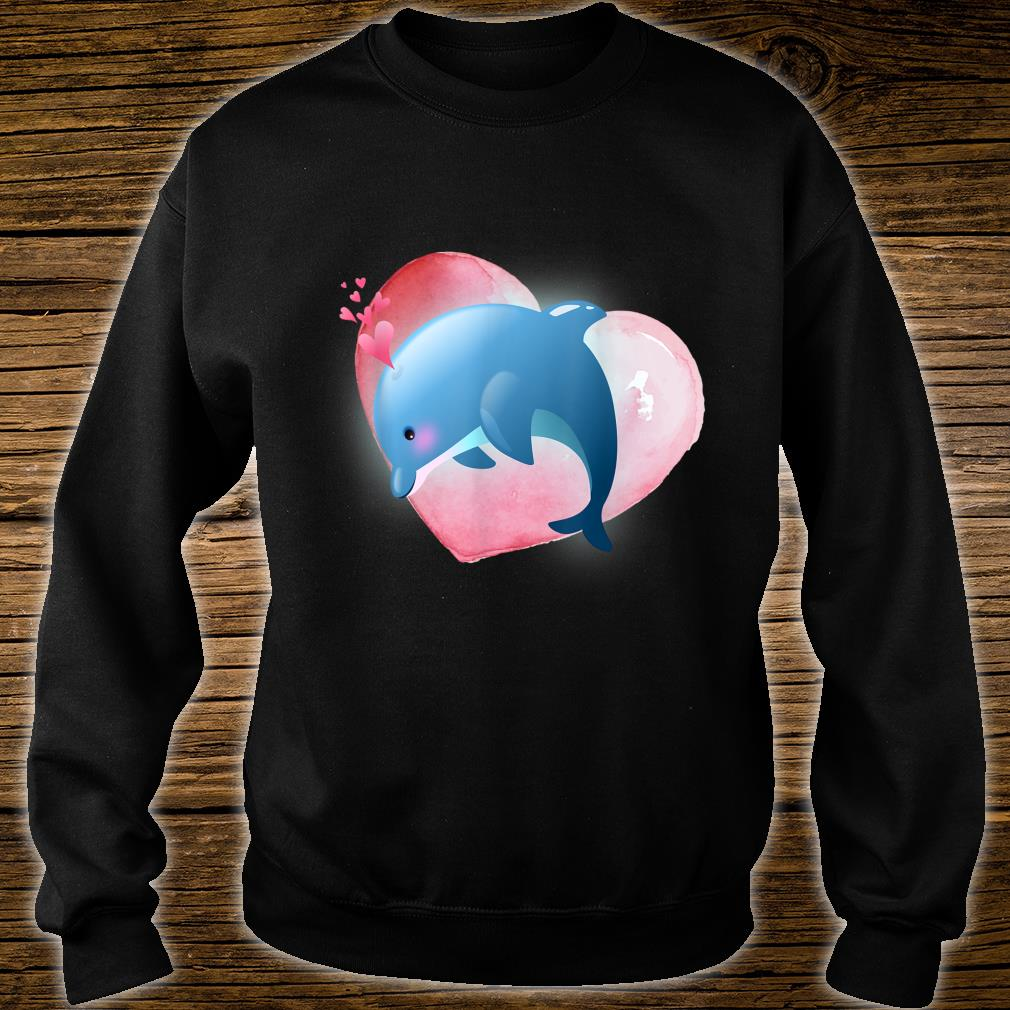 Dolphin With Heart Valentine For Him Her Shirt sweater