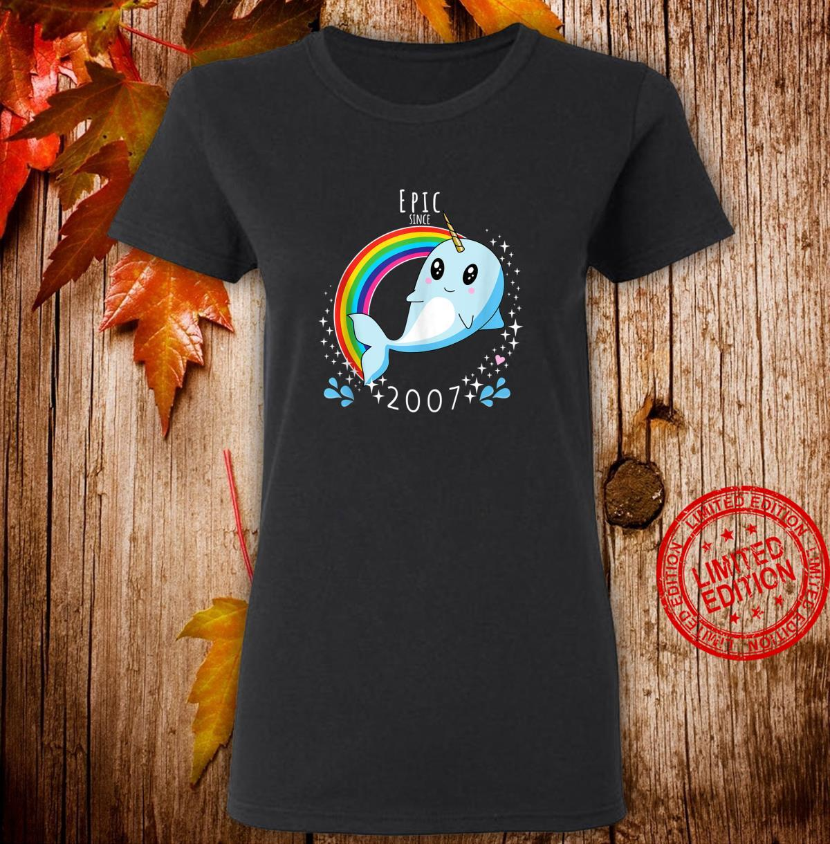 Epic Since 2007 Narwhal 13th Birthday Shirt ladies tee